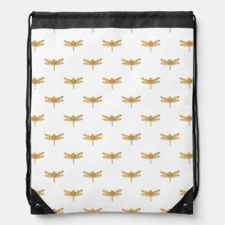Goldenes Libellen-Wiederholungs-Goldmetallische Sportbeutel