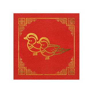 Goldenes Mandarinen-Enten Feng Shui Symbol Holzleinwand
