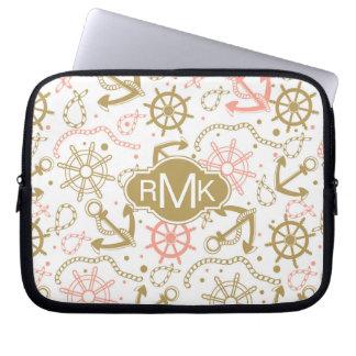 Goldenes Monogramm des Anker-Muster-| Laptop Sleeve