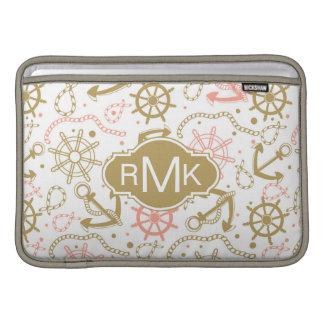 Goldenes Monogramm des Anker-Muster-| MacBook Air Sleeve