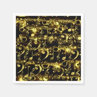 goldenes Musiknotenmuster Serviette