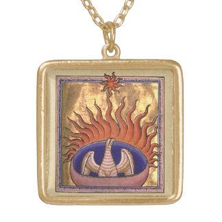 Goldenes Phoenix, das von der Asche steigt Halskette Mit Quadratischem Anhänger
