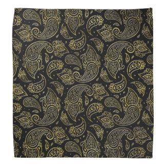 Goldenes prägeartiges Paisley-Muster auf Schwarzem Halstuch