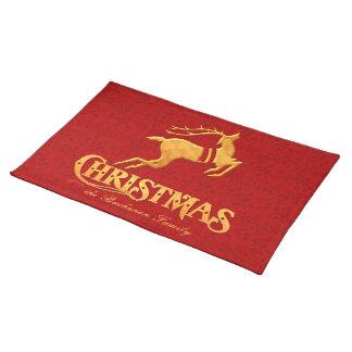 Goldenes Ren-Familien-Weihnachten mit Rot Stofftischset