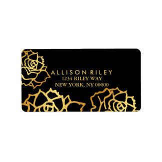 Goldenes Rosen-Adressen-Etikett - Schwarzes Adress Aufkleber