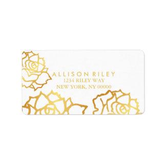 Goldenes Rosen-Adressen-Etikett - Weiß Adressaufkleber
