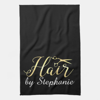 Goldenes Skript Scissors Hairstylist-Friseursalon Handtuch