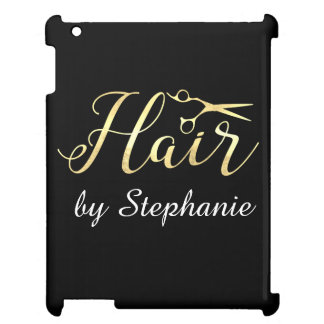 Goldenes Skript Scissors Hairstylist-Friseursalon iPad Hülle