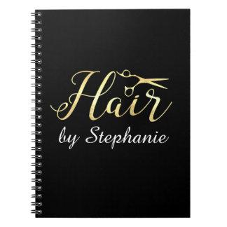 Goldenes Skript Scissors Hairstylist-Friseursalon Spiral Notizblock