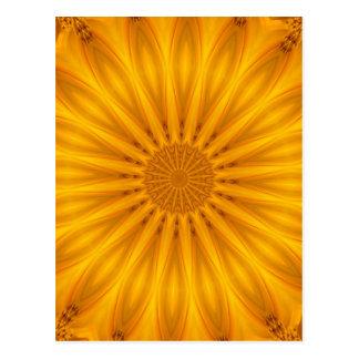Goldenes Sonnenblume-Kaleidoskop Postkarte