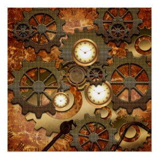 Goldenes steampunk poster