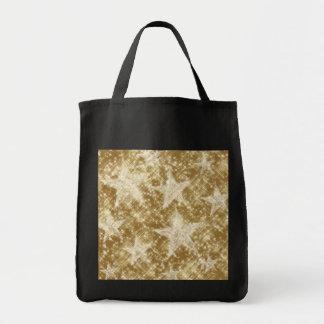 Goldenes Stern-Glitzern-Weihnachten Holydays Einkaufstasche