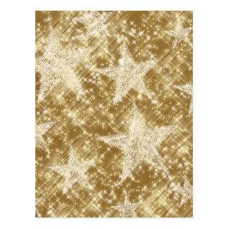 Goldenes Stern-Glitzern-Weihnachten Holydays Postkarte