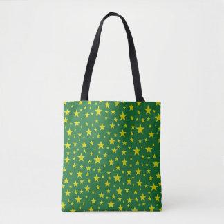 Goldenes Stern-Grün Tasche