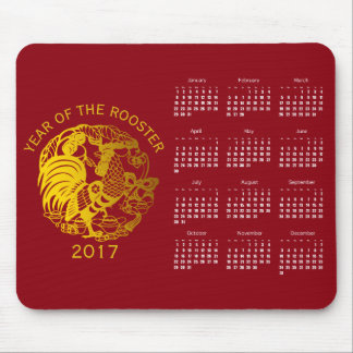 Goldenes Tierkreis-Hahn-Jahr-Kalender mousepad