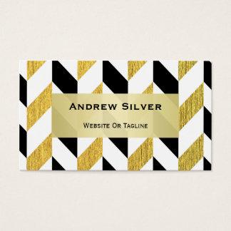 Goldenes und schwarzes Zickzack Muster Visitenkarte