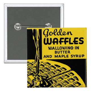 Goldenes Waffel-Frühstück Button
