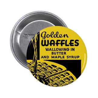 Goldenes Waffel-Frühstück Runder Button 5,1 Cm