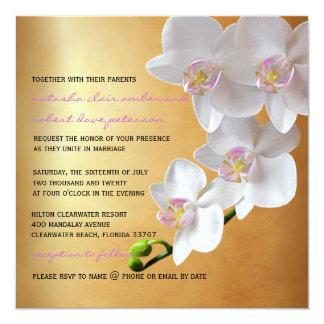 Goldenes Wedding die Steigungs-Glühen-weißen Quadratische 13,3 Cm Einladungskarte