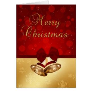Goldenes Weihnachten Bell - Gruß-Karte Karte