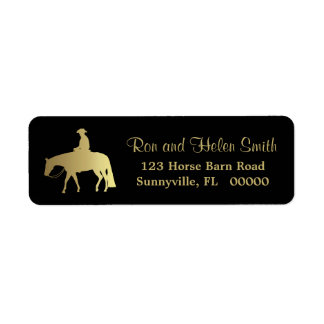 Goldenes Western-Vergnügens-Pferd auf Schwarzem Rücksendeetikett