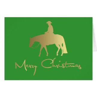 Goldenes Western-Vergnügens-Pferdegrün-Weihnachten Karte