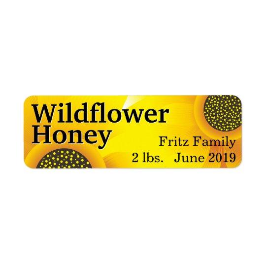 Goldenes Wildblume-Honig-Glas Kleiner Adressaufkleber