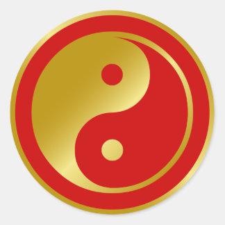 Goldenes Yin Yang Runder Aufkleber