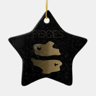 Goldenes Zeichen Fische Keramik Ornament