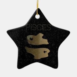 Goldenes Zeichen Fische Keramik Stern-Ornament