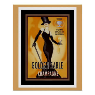 Goldenes Zobel-Champagne-Anzeigen-Plakat Poster