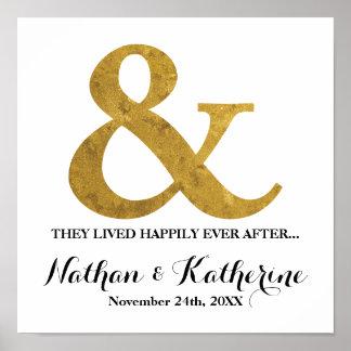 Goldetzeichen glücklich seitdem Wedding Datum Poster