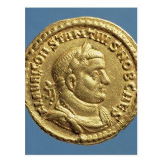 Goldfarbig von Constantius I Caesar Augustus Postkarte