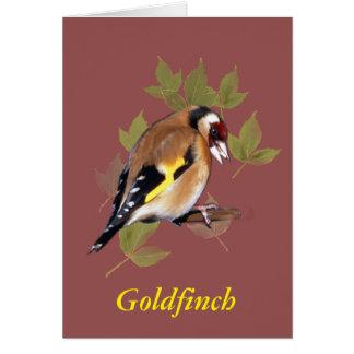 Goldfinch auf Blathintergrund, Weinlese Karte