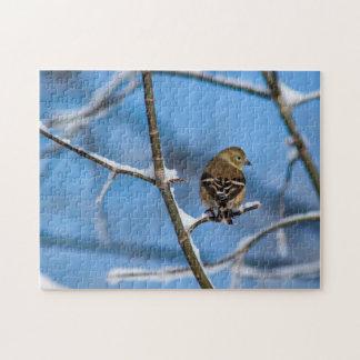 Goldfinch im Winter-Fotopuzzlespiel Puzzle