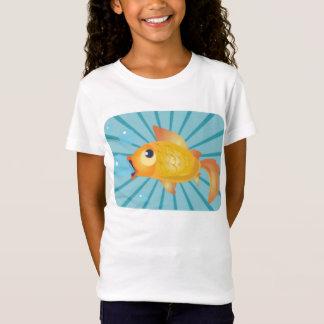 Goldfisch auf blauen Streifen T-Shirt