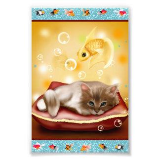 Goldfisch-Feld mit flaumigem schläfrigem Kätzchen Kunstphotos