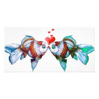 Goldfisch-Kuss Fotokartenvorlagen