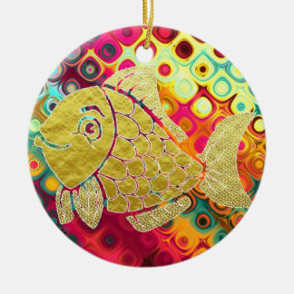 Goldfisch-Leben-Verzierung Rundes Keramik Ornament
