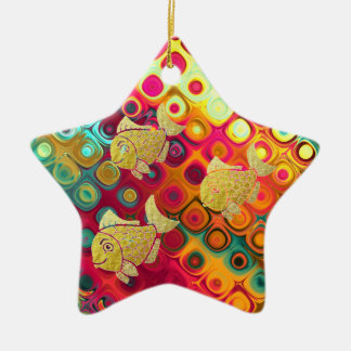 Goldfisch-Leben-Verzierungs-Stern Keramik Stern-Ornament