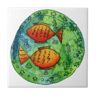 Goldfisch zwei im Meer Fliese