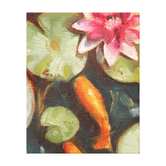 Goldfische Koi Teich-Wasser-Lilien Leinwanddruck