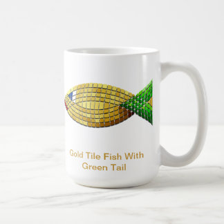 Goldfliesen-Fische mit dem grünen Schwanz Kaffeetasse