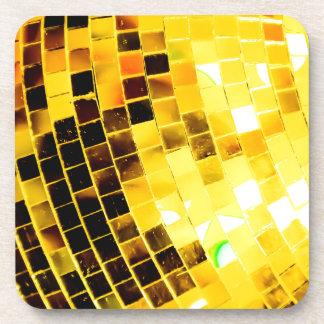 Goldflippiger Disco-Ball Getränkeuntersetzer