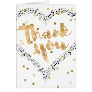 Goldfolie danken Ihnen Kalligraphiemusik Karte