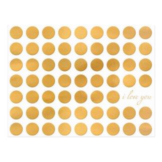"""Goldfolie """"ich Liebe, die Sie"""" punktieren Postkarte"""
