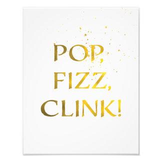 Goldfolie POP, FIZZ, CLINK Hochzeits-Party-Zeichen Photographie