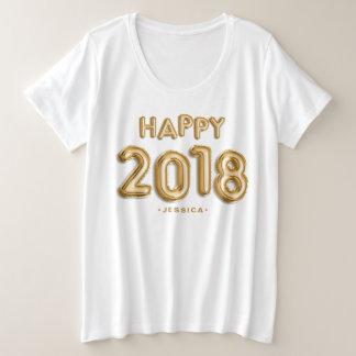 Goldfolie steigt glückliches 2018 personalisiert große größe T-Shirt