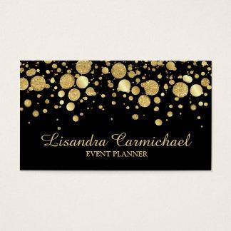 GoldfolieConfetti auf schwarzer Visitenkarte