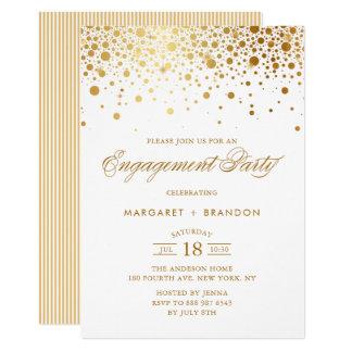 Goldfolieconfetti-Verlobungs-Party Einladung